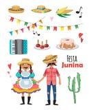 Festa Junina - festival del Brasile giugno Festa di folclore caratteri Insieme di vettore Immagini Stock Libere da Diritti
