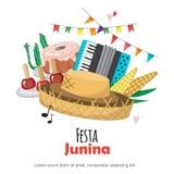 Festa Junina - festival del Brasile giugno Festa di folclore Insieme di progettazione di vettore Immagini Stock Libere da Diritti