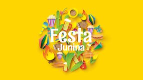 Festa Junina festival design on paper art and flat style with Party Flags and Paper Lantern, Can use for Greeting Card, Invitation. Or Holiday Poster. - Vector royalty free illustration