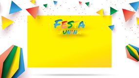 Festa Junina festival design on paper art and flat style with Party Flags and Paper Lantern, Can use for Greeting Card, Invitation. Or Holiday Poster. - Vector vector illustration