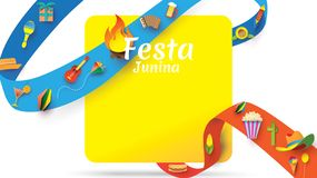 Festa Junina festival design on paper art and flat style with Party Flags and Paper Lantern, Can use for Greeting Card, Invitation. Or Holiday Poster. - Vector stock illustration
