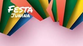 Festa Junina festivaldesign p? pappers- konst och plan stil med partiflaggor och den pappers- lyktan f?r baner- eller affischbegr stock illustrationer