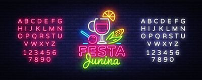 Festa Junina Festive Vector Illustration. Design template is neon style, modern trend design. Latin American holiday. Brazilian party, inscription on Royalty Free Stock Photo