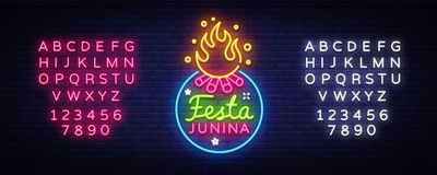 Festa Junina Festive Vector Illustration. Design template is neon style, modern trend design. Latin American holiday. Brazilian party, inscription on Royalty Free Stock Images