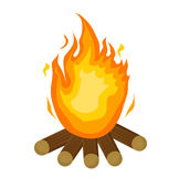 Festa Junina fire. icon flat, cartoon style. Bonfire isolated on white background. Vector illustration, clip-art. Stock Photography