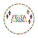 Festa Junina flag lantern circle frame. This illustration is drawing Festa Junina with circle flag and hang lantern in circle frame on white color background Stock Photos