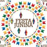 Festa Junina flag lantern circle word seamless pattern. This illustration is design and drawing Festa Junina flag and lantern circle hang word in seamless Stock Photos