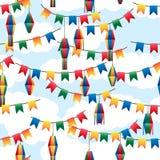 Festa Junina flag lantern colorful seamless pattern. This illustration is drawing Festa Junina with flag and lantern colorful decoration in blue cloud sky Stock Images