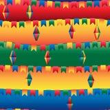 Festa Junina flag lantern horizontal seamless pattern. This illustration is drawing Festa Junina with flag and lantern hang in horizontal style and colorful Stock Photography