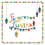 Festa Junina flag lantern square frame. This illustration is drawing Festa Junina with square around flag and lantern hang in frame on white color background Stock Photo