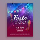 Festa junina flyer design with fireworks Stock Images