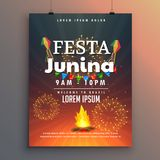 Festa junina flyer design for latin american holiday Royalty Free Stock Photos