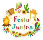Festa Junina frame with space for text. Brazilian Latin American festival blank template for your design, isolated on. White background. Vector illustration Stock Image