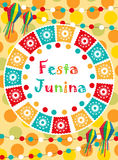 Festa Junina greeting card, invitation, poster. Brazilian Latin American festival template for your design.Vector. Illustration Royalty Free Stock Photo