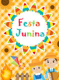 Festa Junina greeting card, invitation, poster. Brazilian Latin American festival template for your design.Vector Stock Images