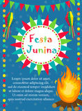 Festa Junina greeting card, invitation, poster. Brazilian Latin American festival template for your design.Vector Royalty Free Stock Images