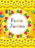 Festa Junina greeting card, invitation, poster. Brazilian Latin American festival template for your design.Vector. Illustration Stock Photo