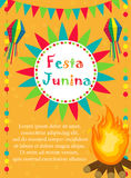Festa Junina greeting card, invitation, poster. Brazilian Latin American festival template for your design.Vector Royalty Free Stock Photo
