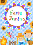 Festa Junina greeting card, invitation, poster. Brazilian Latin American festival template for your design.Vector Royalty Free Stock Photos