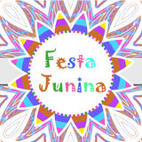Festa Junina greeting card, invitation, poster. Brazilian Latin American festival template for your design.Vector. Illustration Stock Images