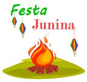 Festa Junina greeting card, poster, banner or invitation with bonfire. Brazil June festival. Vector illustration Royalty Free Stock Photography