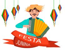 Festa Junina greeting card, poster, banner or invitation. Brazil June festival, cheerful man playing on accordion. Vector illustration Stock Image