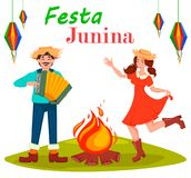 Festa Junina greeting card, poster, banner or invitation. Brazil June festival, dancing woman and man paying on accordion near bonfire. Vector illustration Stock Images