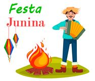 Festa Junina greeting card, poster, banner or invitation. Brazil June festival, man paying on accordion near bonfire. Vector illustration Royalty Free Stock Photo