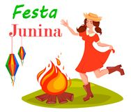 Festa Junina greeting card, poster, banner or invitation. Brazil June festival, dancing woman near bonfire. Vector illustration Royalty Free Stock Photo