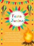 Festa Junina hälsningkort, inbjudan, affisch Brasiliansk latin - amerikansk festivalmall för din design vektor royaltyfri illustrationer