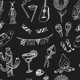 Festa Junina. Hand drawn doodle seamless pattern. Sketches. Vector illustration for design and packages product. Festa Junina Hand drawn doodle seamless pattern Stock Photos