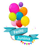 Festa Junina Holiday Background. Traditional Brazil June Festiva. L Party. Midsummer Holiday. Vector illustration with Ribbon, Balloons and Flags. EPS10 Royalty Free Stock Photo