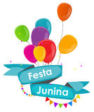 Festa Junina Holiday Background. Traditional Brazil June Festiva. L Party. Midsummer Holiday. Vector illustration with Ribbon, Balloons and Flags. EPS10 Stock Image