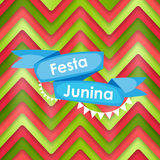 Festa Junina Holiday Background. Traditional Brazil June Festiva. L Party. Midsummer Holiday. Vector illustration with Ribbon and Flags. EPS10 Stock Photography