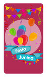 Festa Junina Holiday Background. Traditional Brazil June Festiva. L Party. Midsummer Holiday. Vector illustration with Ribbon and Flags. EPS10 Stock Photos