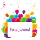 Festa Junina Holiday Background. Traditional Brazil June Festiva. L Party. Midsummer Holiday. Vector illustration with Ribbon and Flags. EPS10 Royalty Free Stock Image