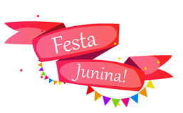 Festa Junina Holiday Background. Traditional Brazil June Festiva. L Party. Midsummer Holiday. Vector illustration with Ribbon and Flags. EPS10 Stock Photo