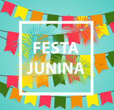 Festa Junina Holiday Background. Traditional Brazil June Festival Party. Midsummer Holiday. Vector illustration with. Ribbon and Flags. EPS10 Royalty Free Stock Images