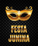 Festa Junina Holiday Background. Traditional Brazil June Festival Party. Midsummer Holiday. Vector illustration with. Ribbon and Flags. EPS10 Royalty Free Stock Photography