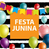 Festa Junina Holiday Background. Traditional Brazil June Festival Party. Midsummer Holiday. Vector illustration with. Ribbon and Flags. EPS10 Stock Photography