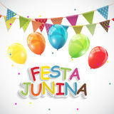 Festa Junina Holiday Background. Traditional Brazil June Festival Party. Midsummer Holiday. Vector illustration with. Ribbon and Flags. EPS10 Royalty Free Stock Photo