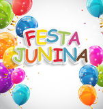 Festa Junina Holiday Background. Traditional Brazil June Festival Party. Midsummer Holiday. Vector illustration with. Ribbon and Flags. EPS10 Stock Photos