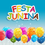 Festa Junina Holiday Background. Traditional Brazil June Festival Party. Midsummer Holiday. Vector illustration with. Ribbon and Flags. EPS10 Royalty Free Stock Photos