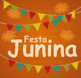 Festa Junina Holiday Background. Traditional Brazil June Festival Party. Midsummer Holiday. Vector illustration with. Ribbon and Flags. EPS10 Stock Images