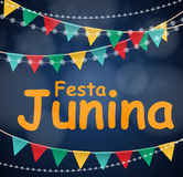 Festa Junina Holiday Background. Traditional Brazil June Festival Party. Midsummer Holiday. Vector illustration with. Ribbon and Flags. EPS10 Stock Photo