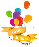 Festa Junina Holiday Background. Traditional Brazil June Festival. Party. Midsummer Holiday. Vector illustration with Ribbon, Balloons and Flags. EPS10 Royalty Free Stock Photo