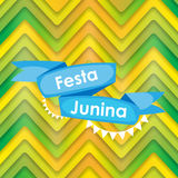 Festa Junina Holiday Background. Traditional Brazil June Festival. Party. Midsummer Holiday. Vector illustration with Ribbon and Flags. EPS10 Royalty Free Stock Image