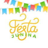Festa Junina. Holiday card design for Brazilian June festa de Sao Joao. Lettering and colorful buntings.  Stock Images