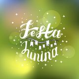 Festa Junina. Holiday card design for Brazilian June fest de Sao Joao on the blurred background. Lettering illustration. Folkl holiday Stock Photography