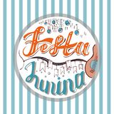 Festa Junina. Holiday card design for Brazilian June fest de Sao Joao on the stripe background. Lettering illustration. Festa Junina. Holiday card or poster Royalty Free Stock Photo